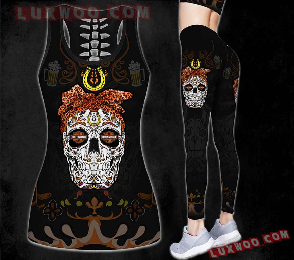 Combo Harley Davidson New Skull Black Flower Hollow Tanktop Legging Set Outfit K1587