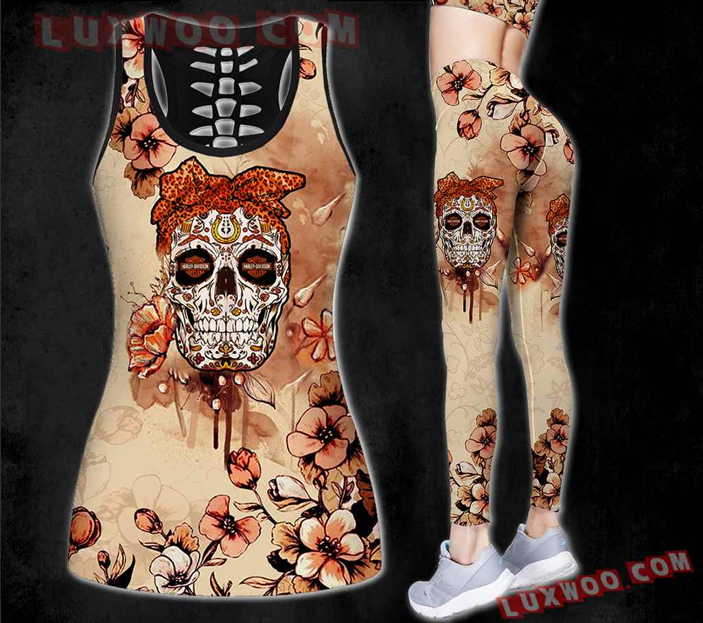Combo Harley Davidson New Skull Flower Hollow Tanktop Legging Set Outfit K1586