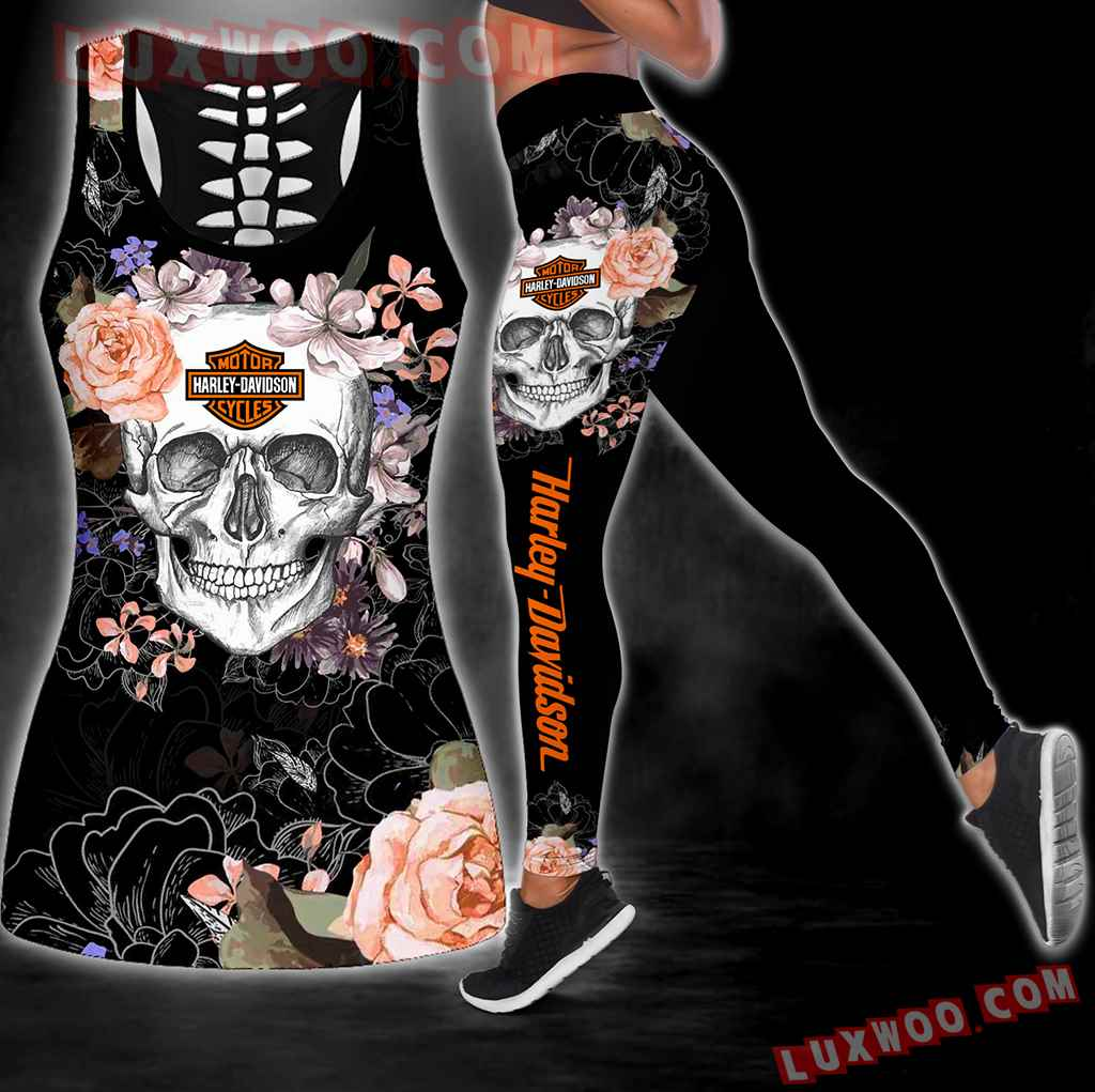Combo Harley Davidson New Skull Flower Hollow Tanktop Legging Set Outfit S1078