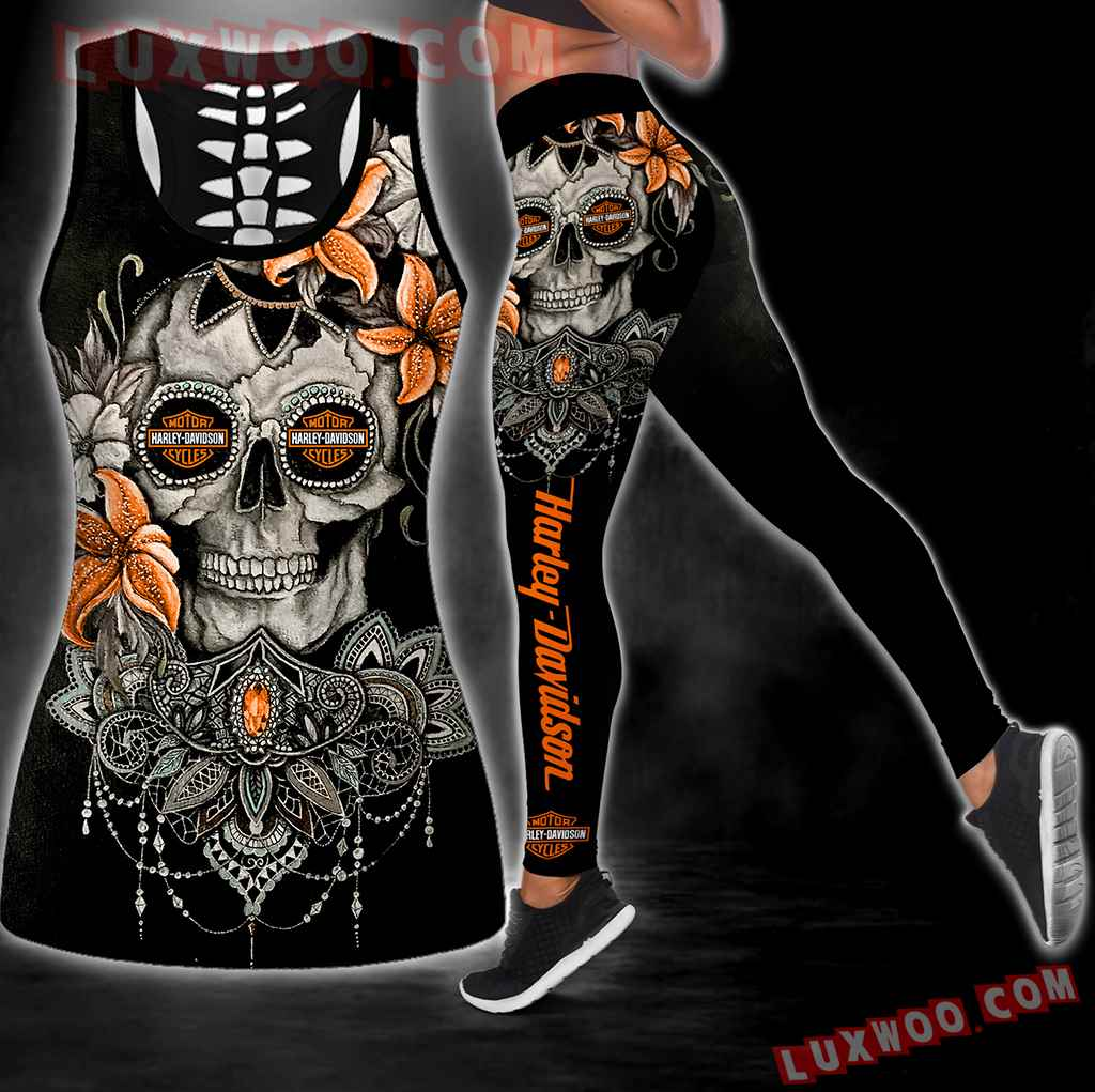 Combo Harley Davidson New Skull Flower Hollow Tanktop Legging Set Outfit S1081