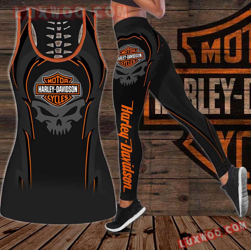 Combo Harley Davidson New Skull Hollow Tanktop Legging Set Outfit K1932