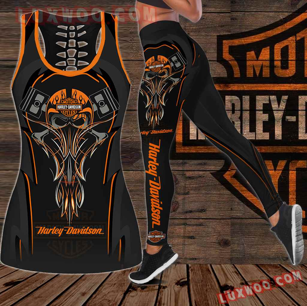 Combo Harley Davidson New Skull Hollow Tanktop Legging Set Outfit K1934