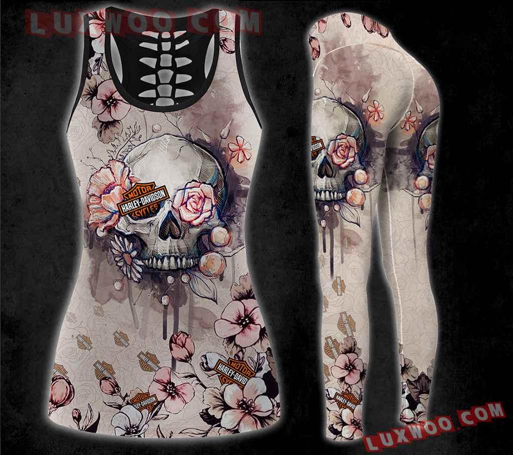 Combo Harley Davidson Skull Flower Black Hollow Tanktop Legging Set Outfit K1535