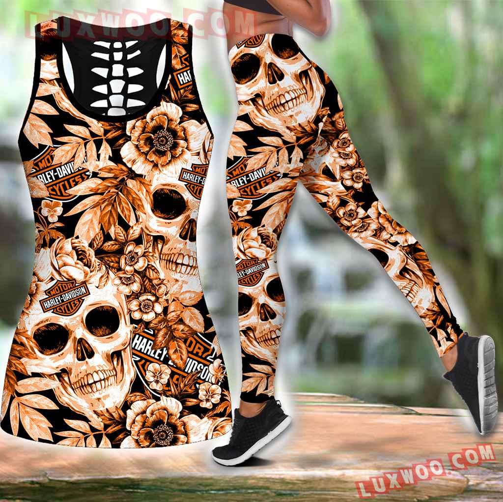 Combo Harley Davidson Skull Flower Hollow Tanktop Legging Set Outfit K1951