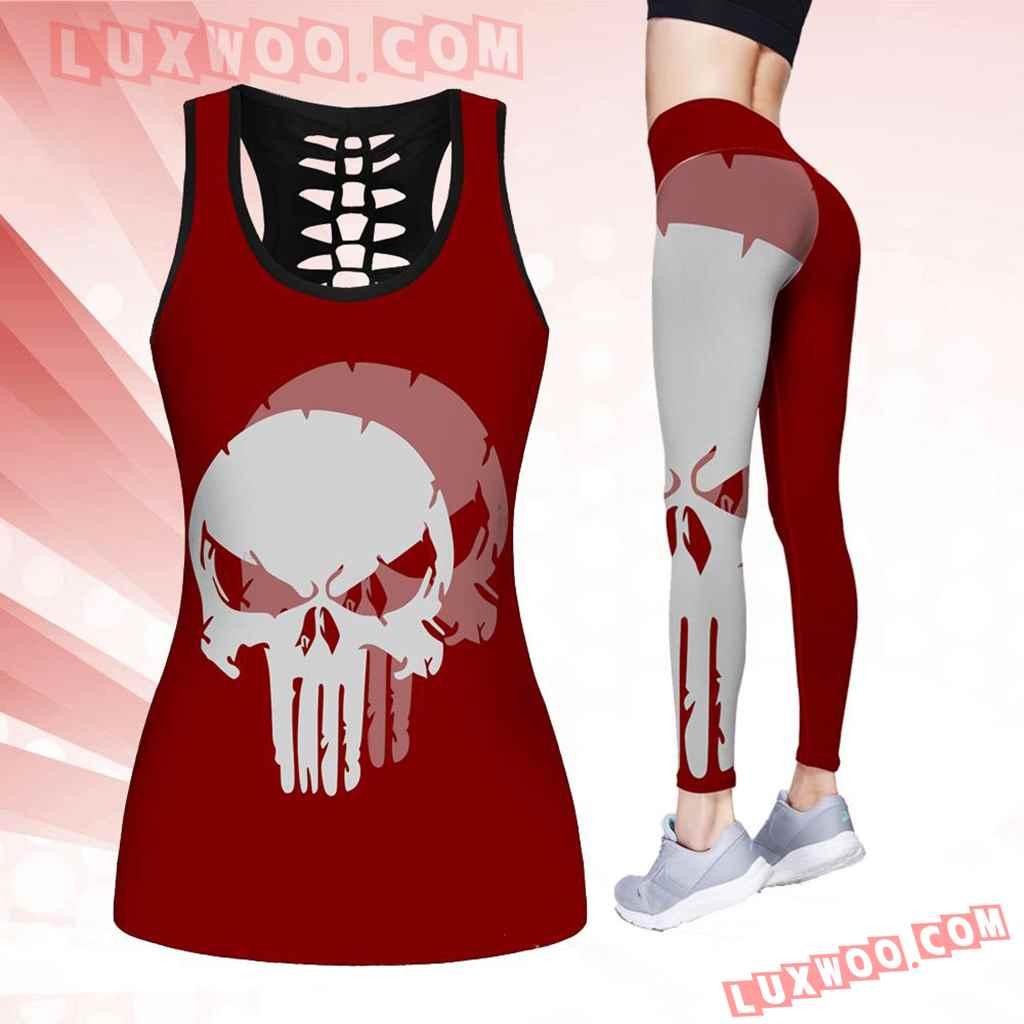 Combo Harley Davidson Skull Hollow Tanktop Legging Set Outfit K1518