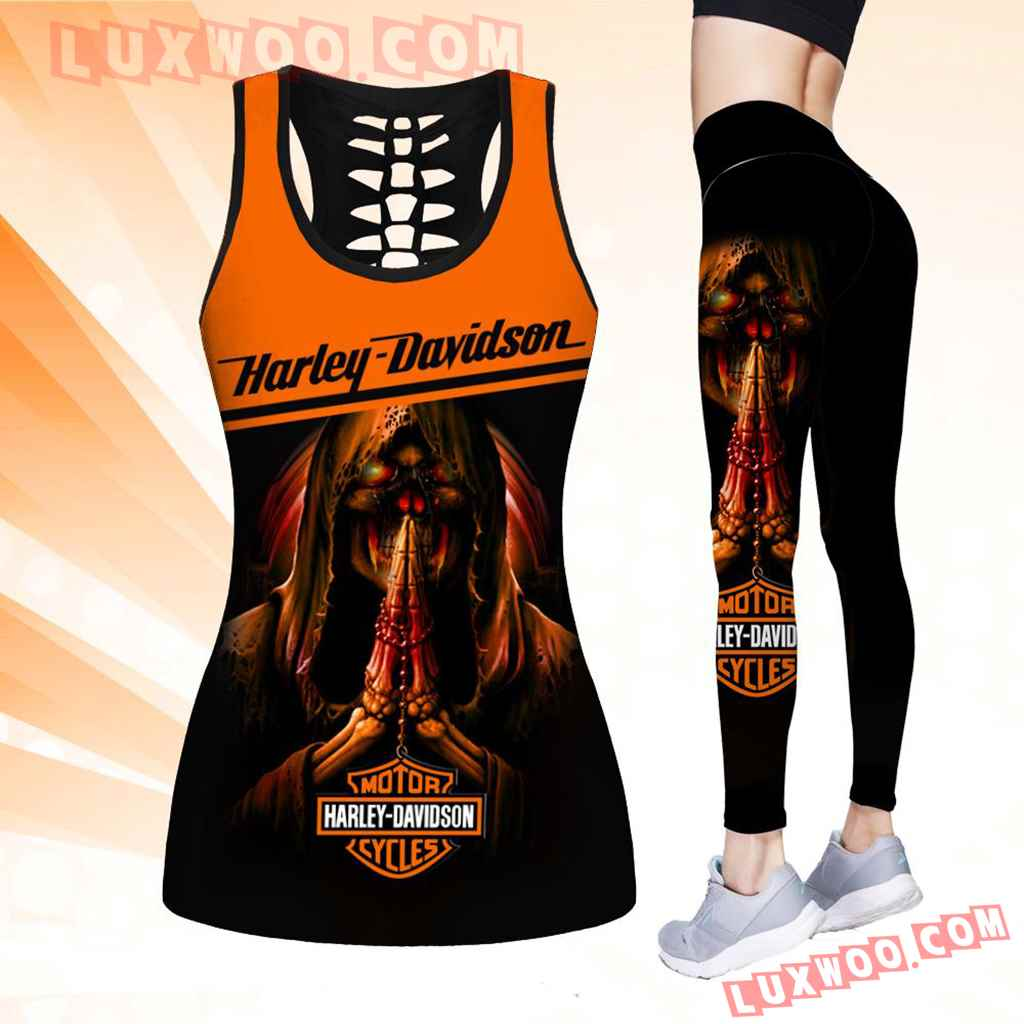 Combo Harley Davidson Skull Hollow Tanktop Legging Set Outfit K1522