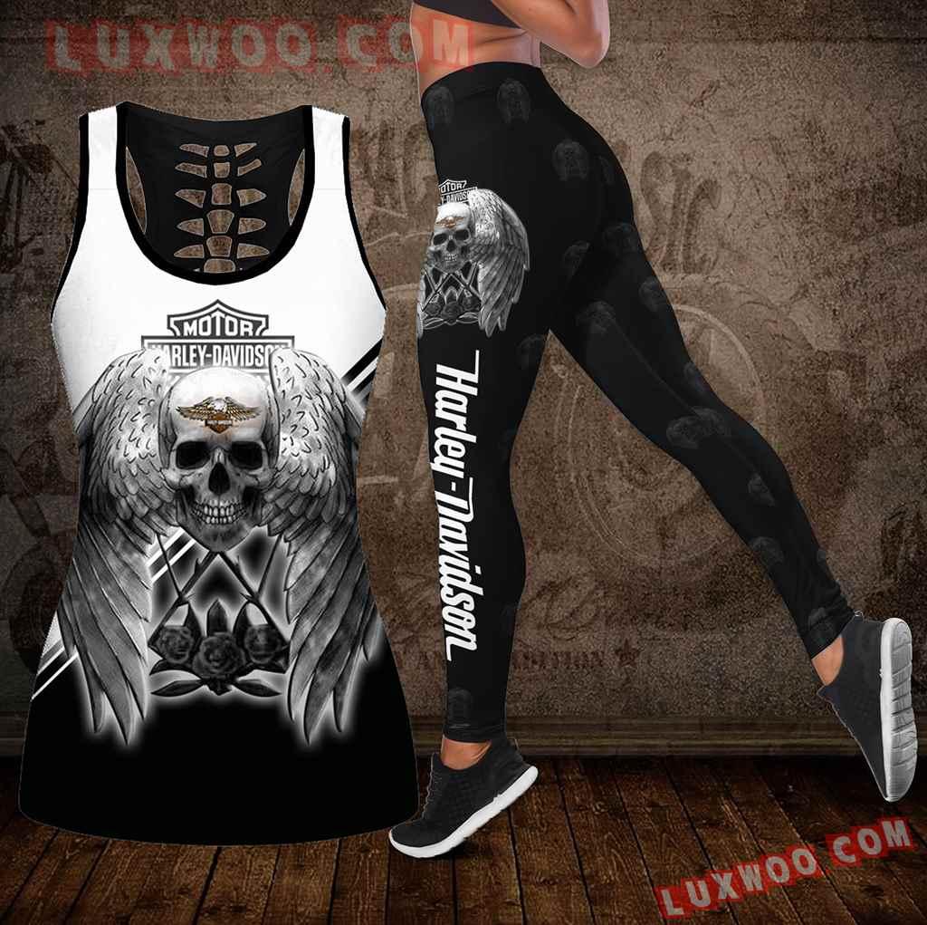 Combo Harley Davidson Skull Hollow Tanktop Legging Set Outfit K1972