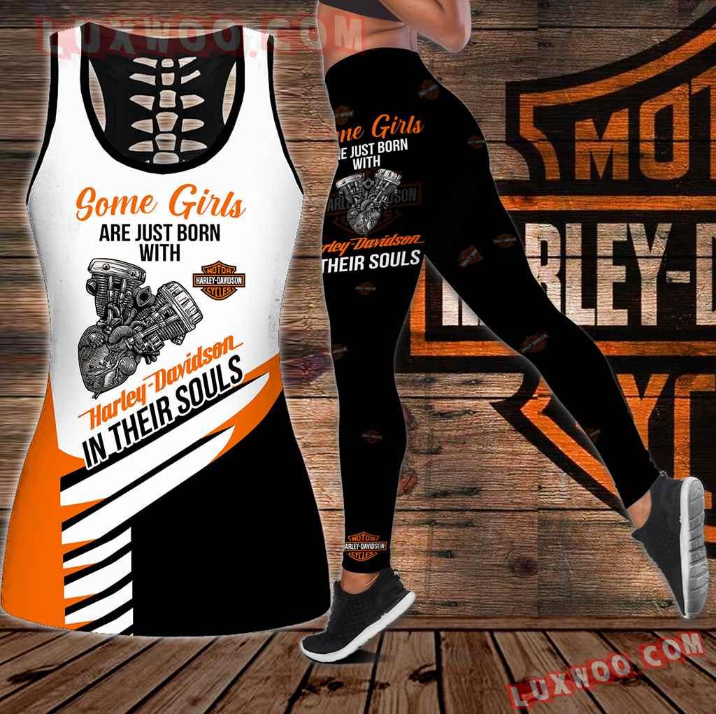 Combo Harley Davidson Some People Hollow Tanktop Legging Set Outfit K2026