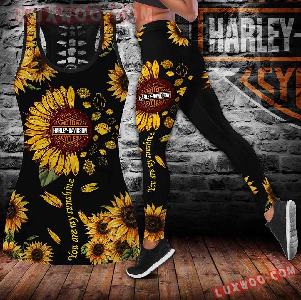 Combo Harley Davidson Sunflower Black Hollow Tanktop Legging Set Outfit V1717