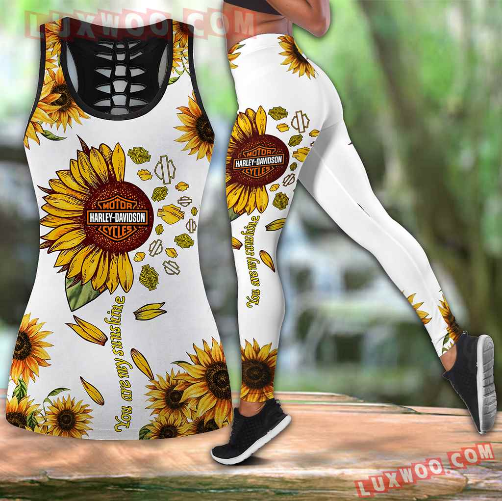 Combo Harley Davidson Sunflower Hollow Tanktop Legging Set Outfit V1703