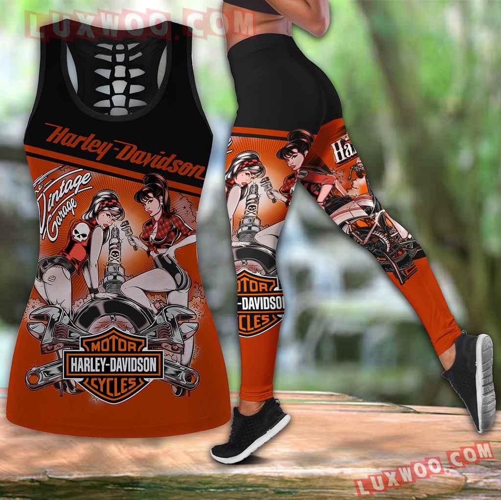 Combo Harley Davidson Vintage Garage Hollow Tanktop Legging Set Outfit V1572