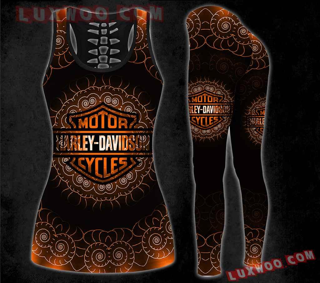 Combo Hippie Mandala Harley Davidson Hollow Tanktop Legging Set Outfit V1605