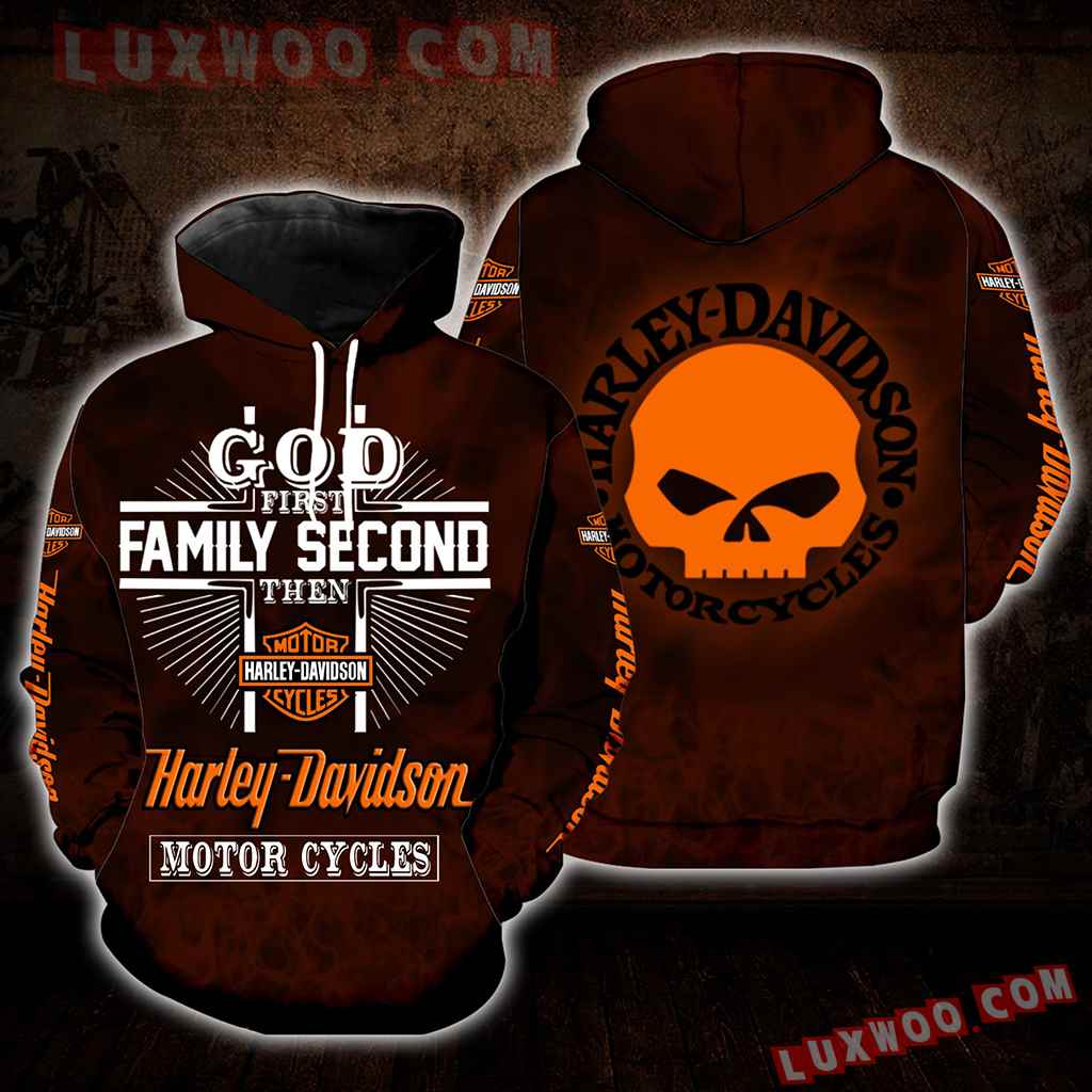 God First Family Second Then Harley Davidson 3d Hoodies Printed Zip Hoodies V1
