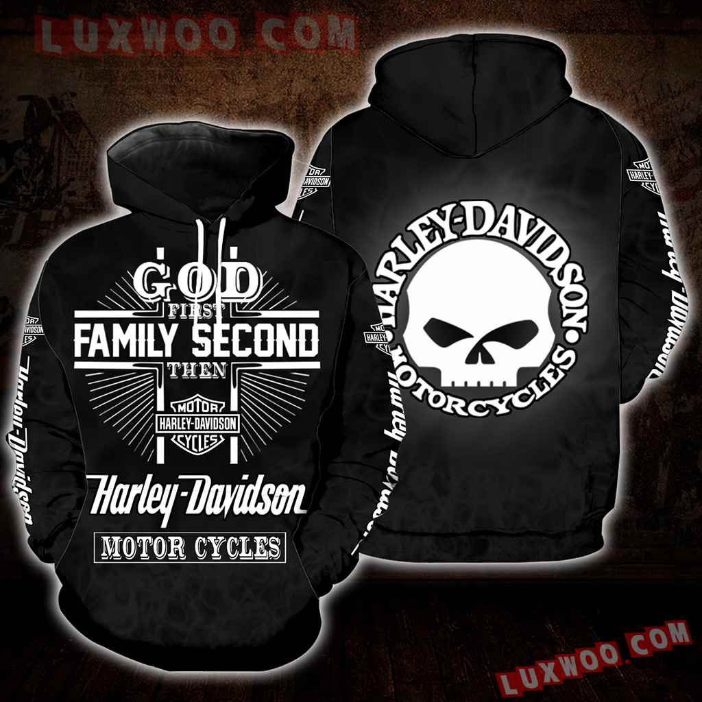 God First Family Second Then Harley Davidson 3d Hoodies Printed Zip Hoodies V2