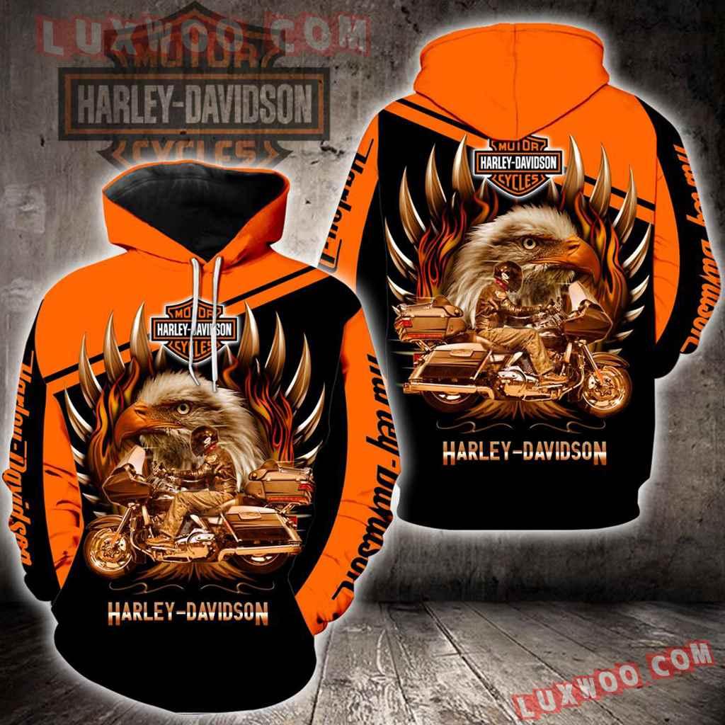 Harley Davidson 3d Hoodies Printed Zip Hoodies V6