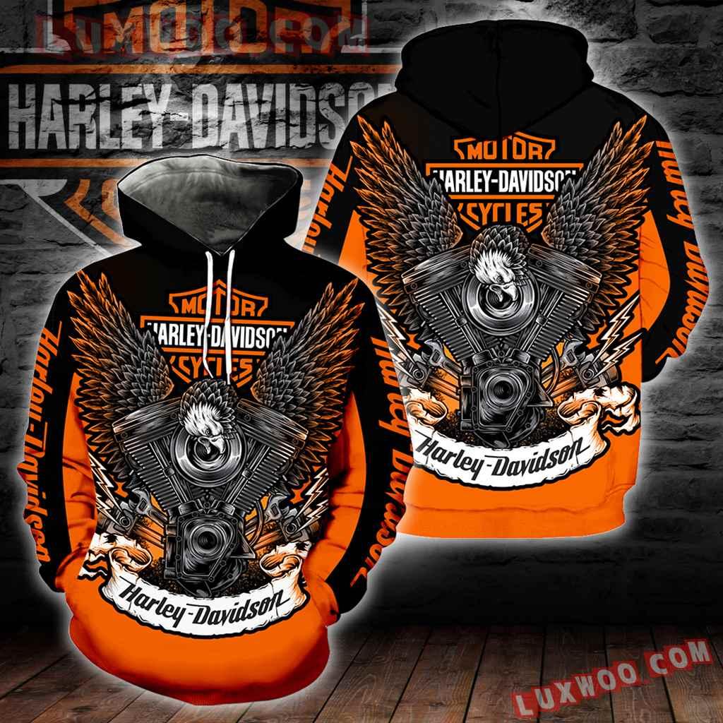 Harley Davidson 3d Hoodies Printed Zip Hoodies V7