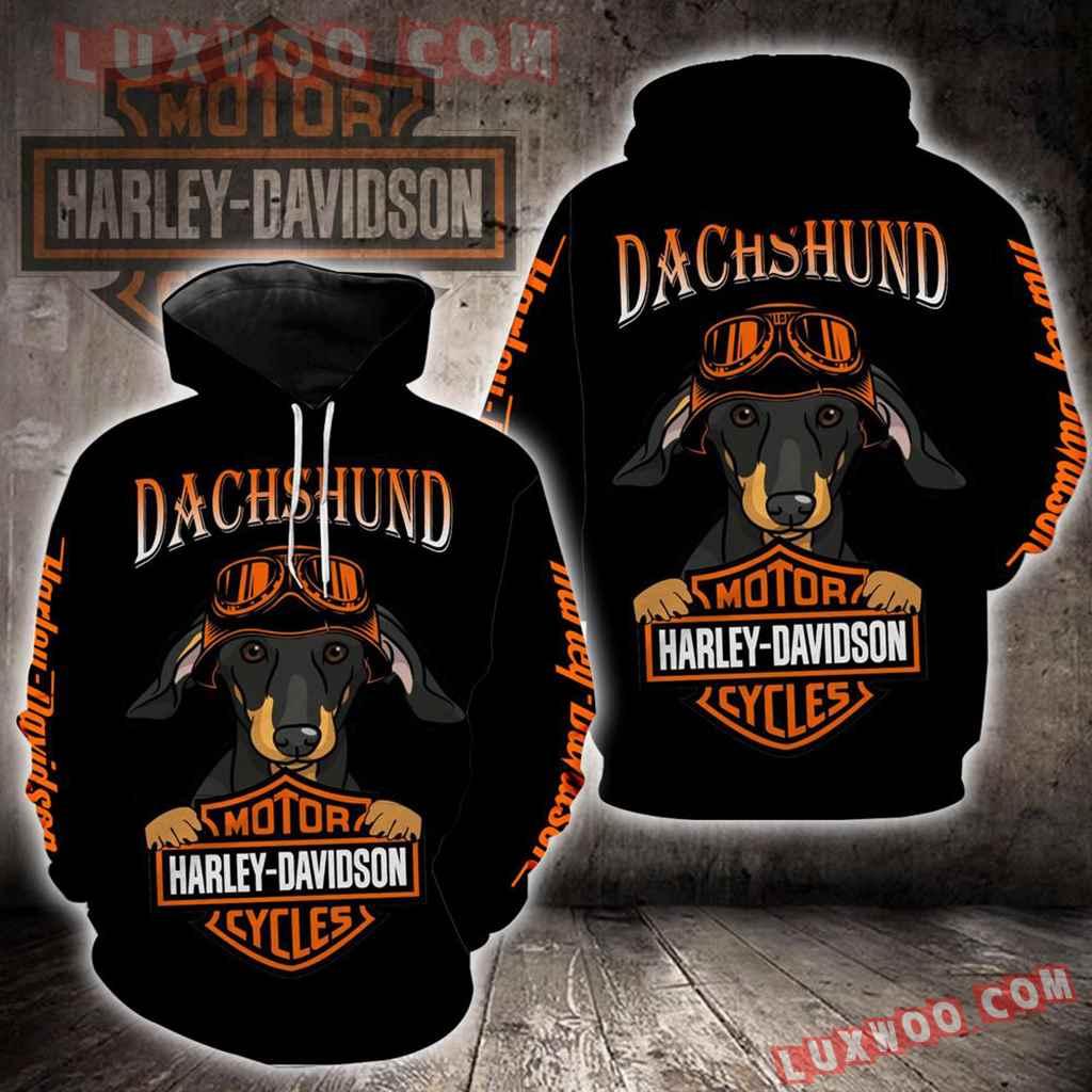 Harley Davidson Dachshund Dog 3d Hoodies Printed Zip Hoodies V1