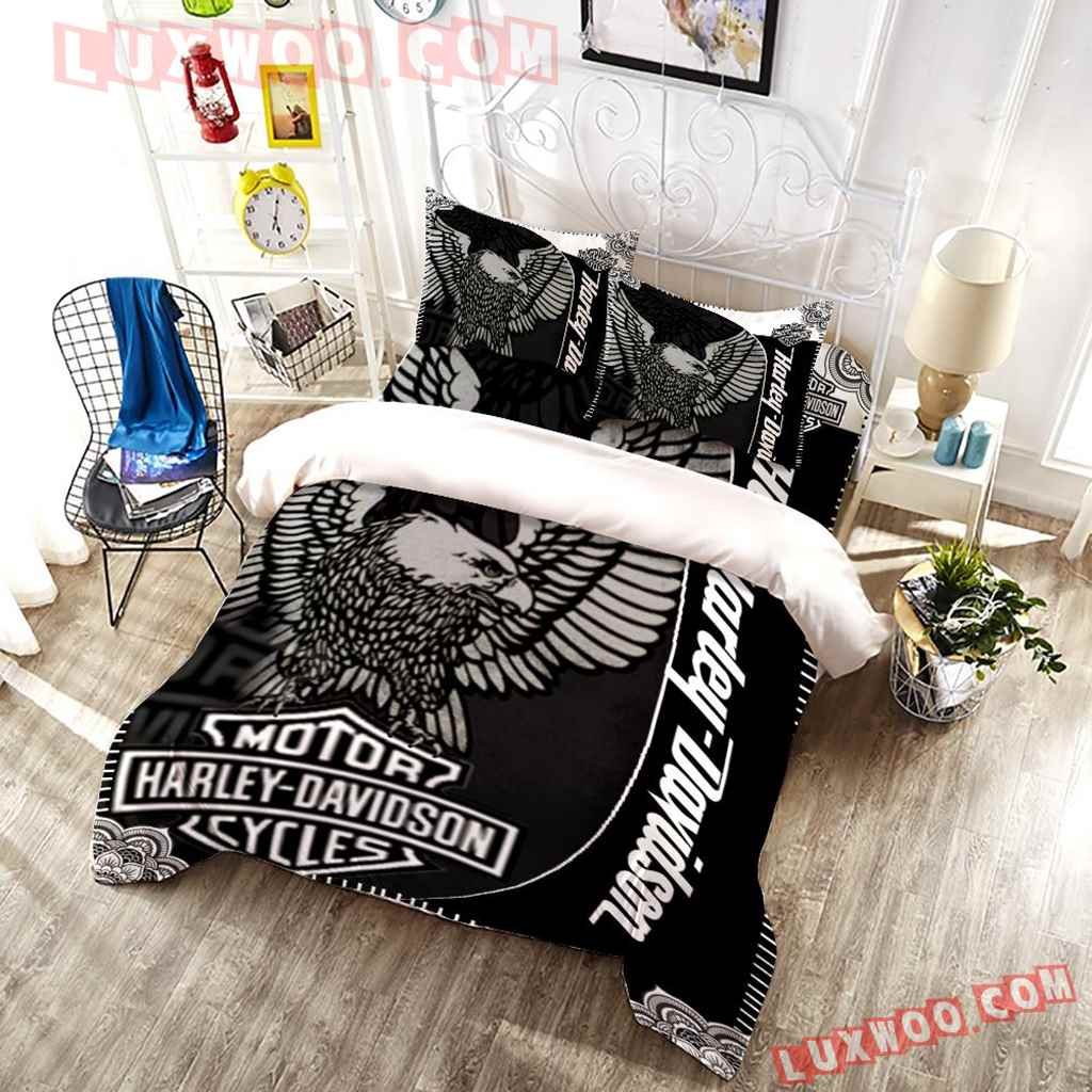Harley Davidson Eagle 3d Quilt Bedding Set V4