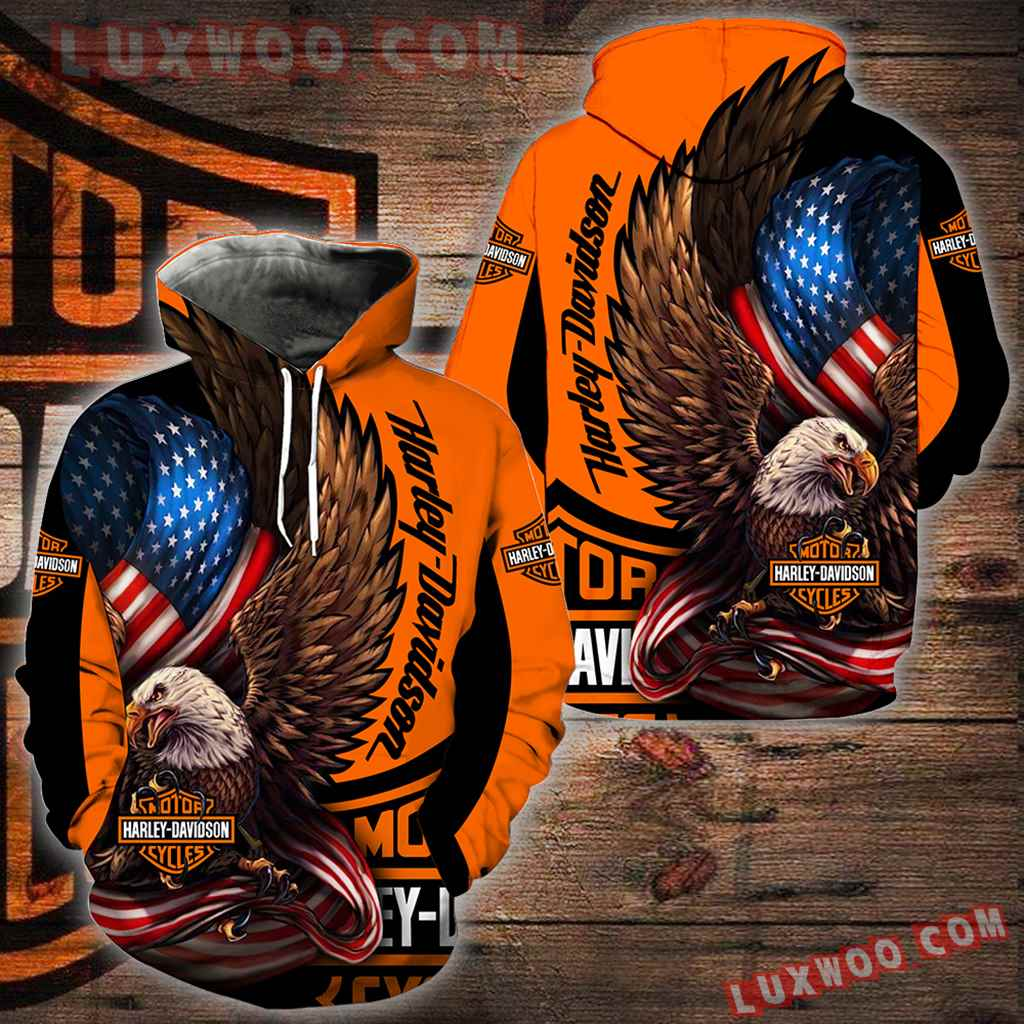 Harley Davidson Motorcycle Eagle 3d Hoodies Printed Zip Hoodies V1