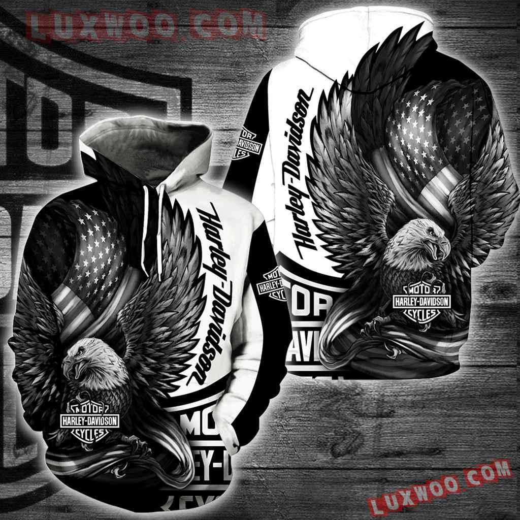 Harley Davidson Motorcycle Eagle 3d Hoodies Printed Zip Hoodies V10