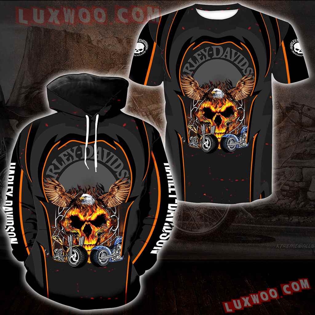 Harley Davidson Motorcycle Eagle 3d Hoodies Printed Zip Hoodies V2