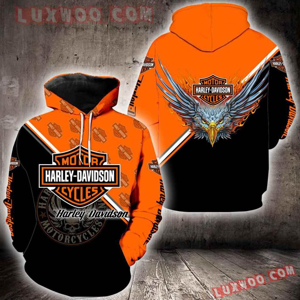 Harley Davidson Motorcycle Eagle 3d Hoodies Printed Zip Hoodies V3