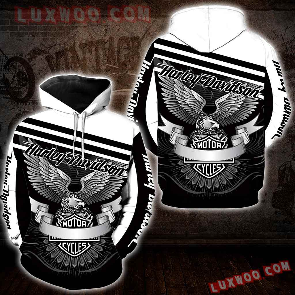Harley Davidson Motorcycle Eagle 3d Hoodies Printed Zip Hoodies V4