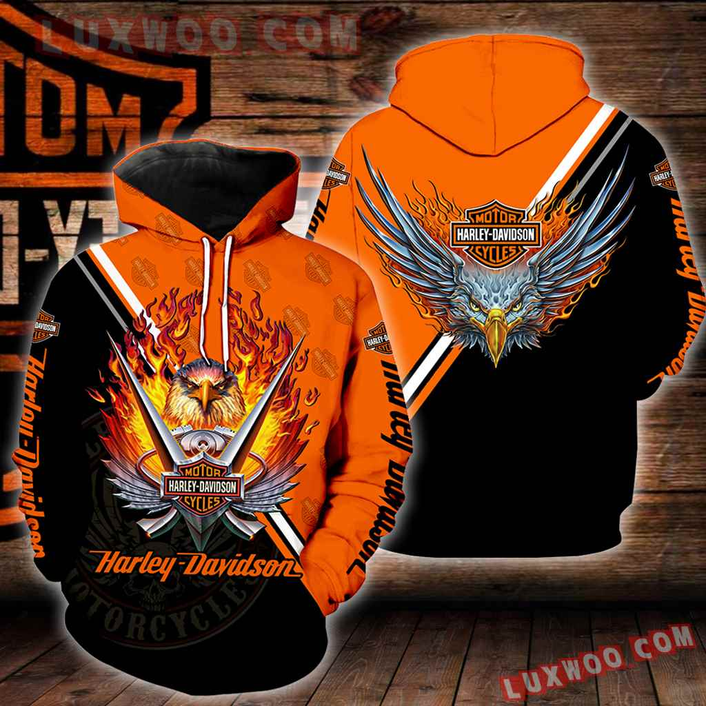 Harley Davidson Motorcycle Eagle 3d Hoodies Printed Zip Hoodies V5