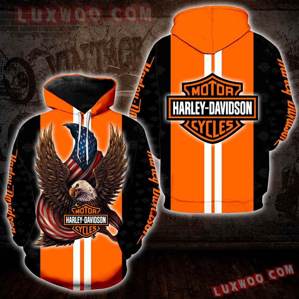 Harley Davidson Motorcycle Eagle 3d Hoodies Printed Zip Hoodies V6