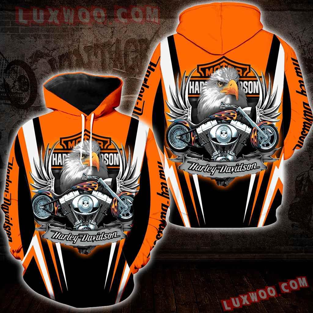 Harley Davidson Motorcycle Eagle 3d Hoodies Printed Zip Hoodies V7
