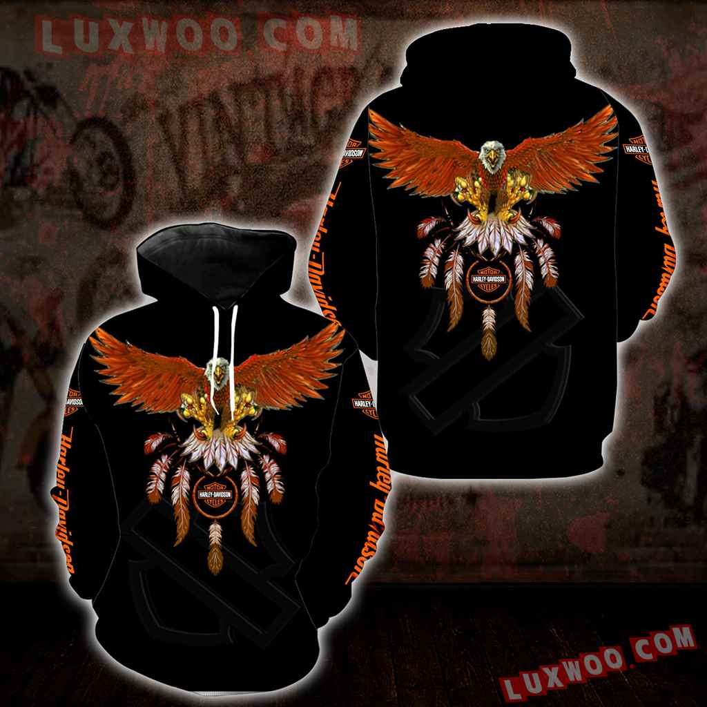Harley Davidson Motorcycle Eagle 3d Hoodies Printed Zip Hoodies V8