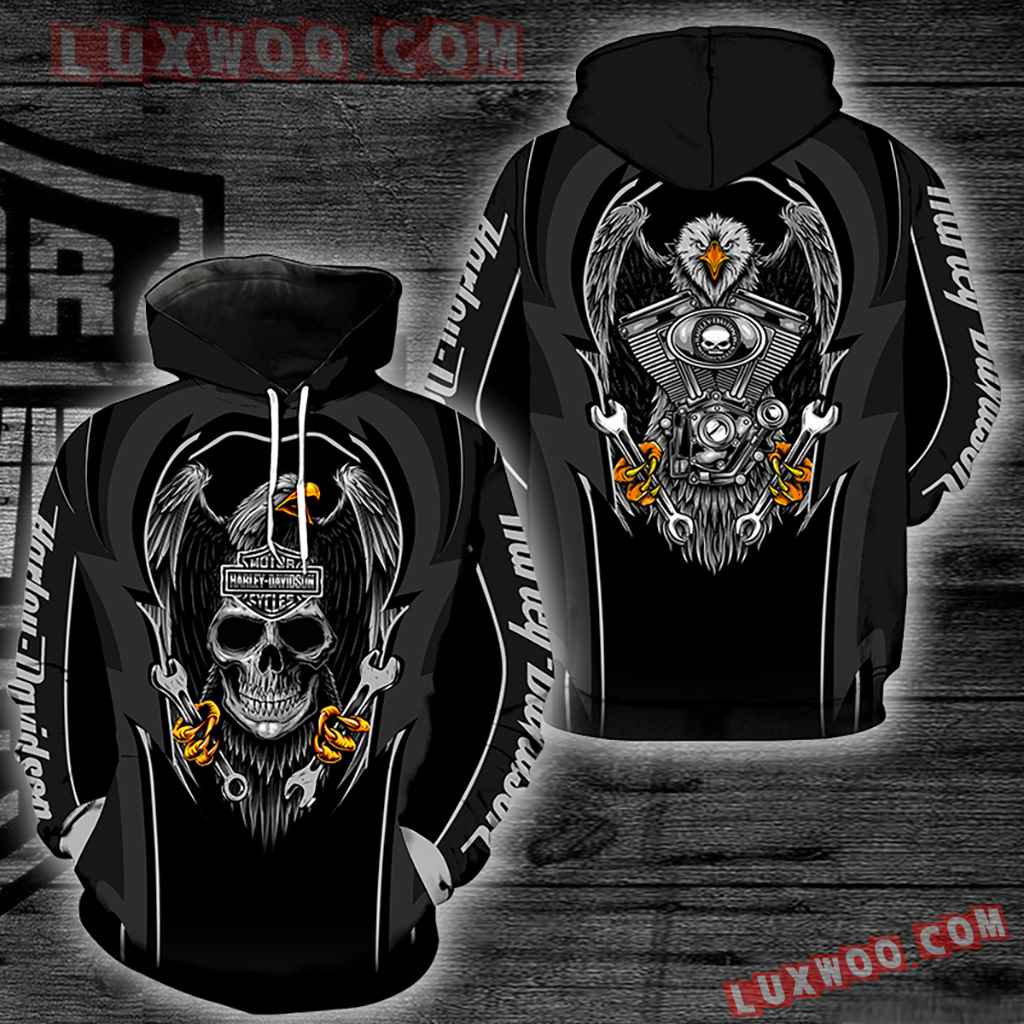 Harley Davidson Motorcycle Eagle 3d Hoodies Printed Zip Hoodies V9