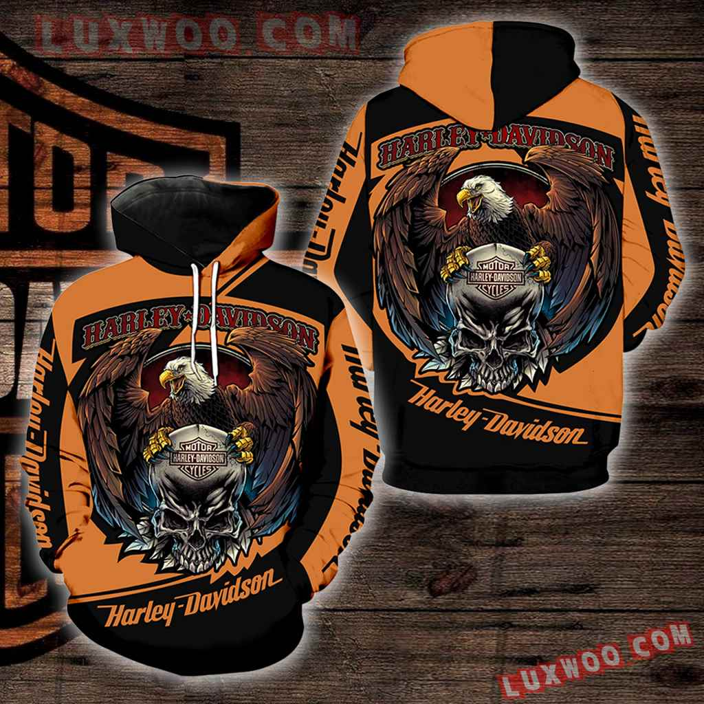 Harley Davidson Motorcycle Eagle Skull 3d Hoodies Printed Zip Hoodies V1