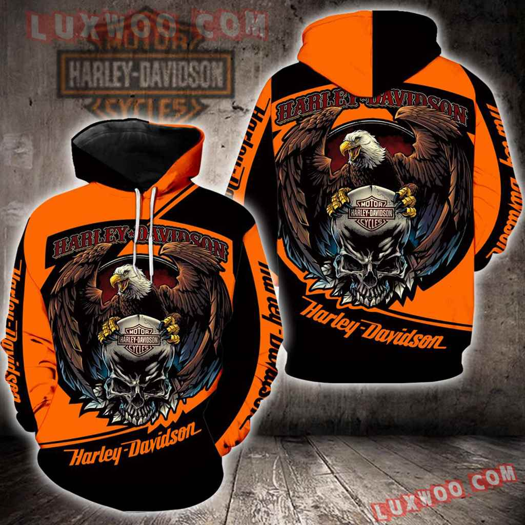 Harley Davidson Motorcycle Eagle Skull 3d Hoodies Printed Zip Hoodies V2
