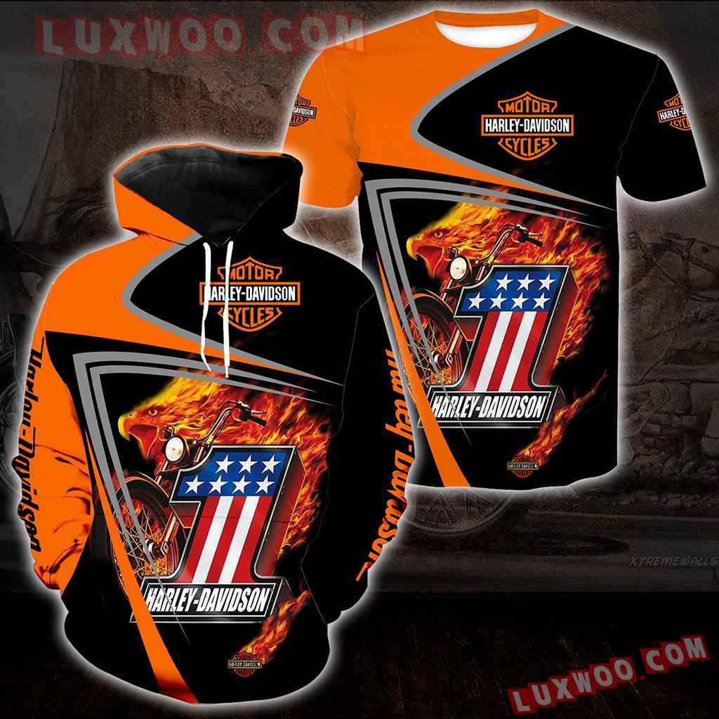Harley Davidson Motorcycle Flag 3d Hoodies Printed Zip Hoodies V1