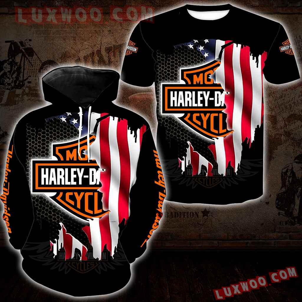 Harley Davidson Motorcycle Flag 3d Hoodies Printed Zip Hoodies V2