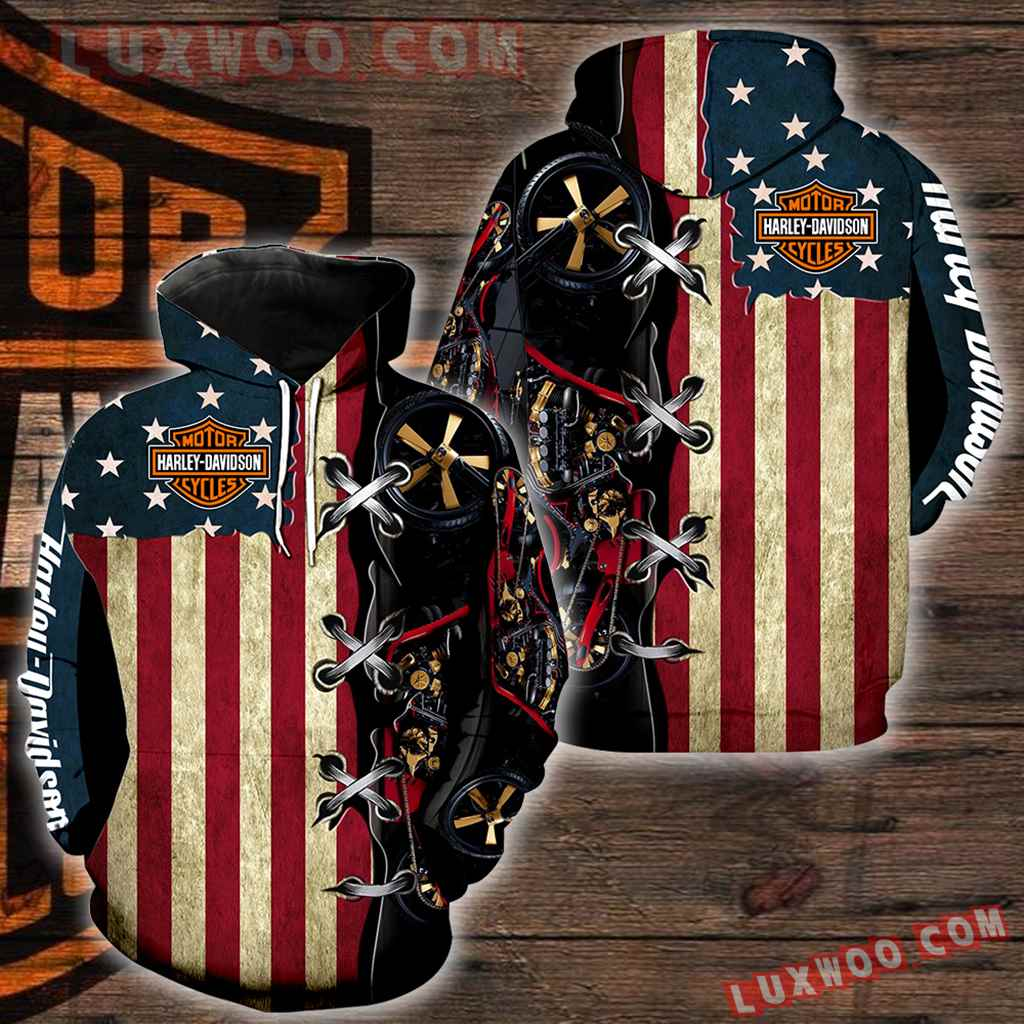 Harley Davidson Motorcycle Flag 3d Hoodies Printed Zip Hoodies V4