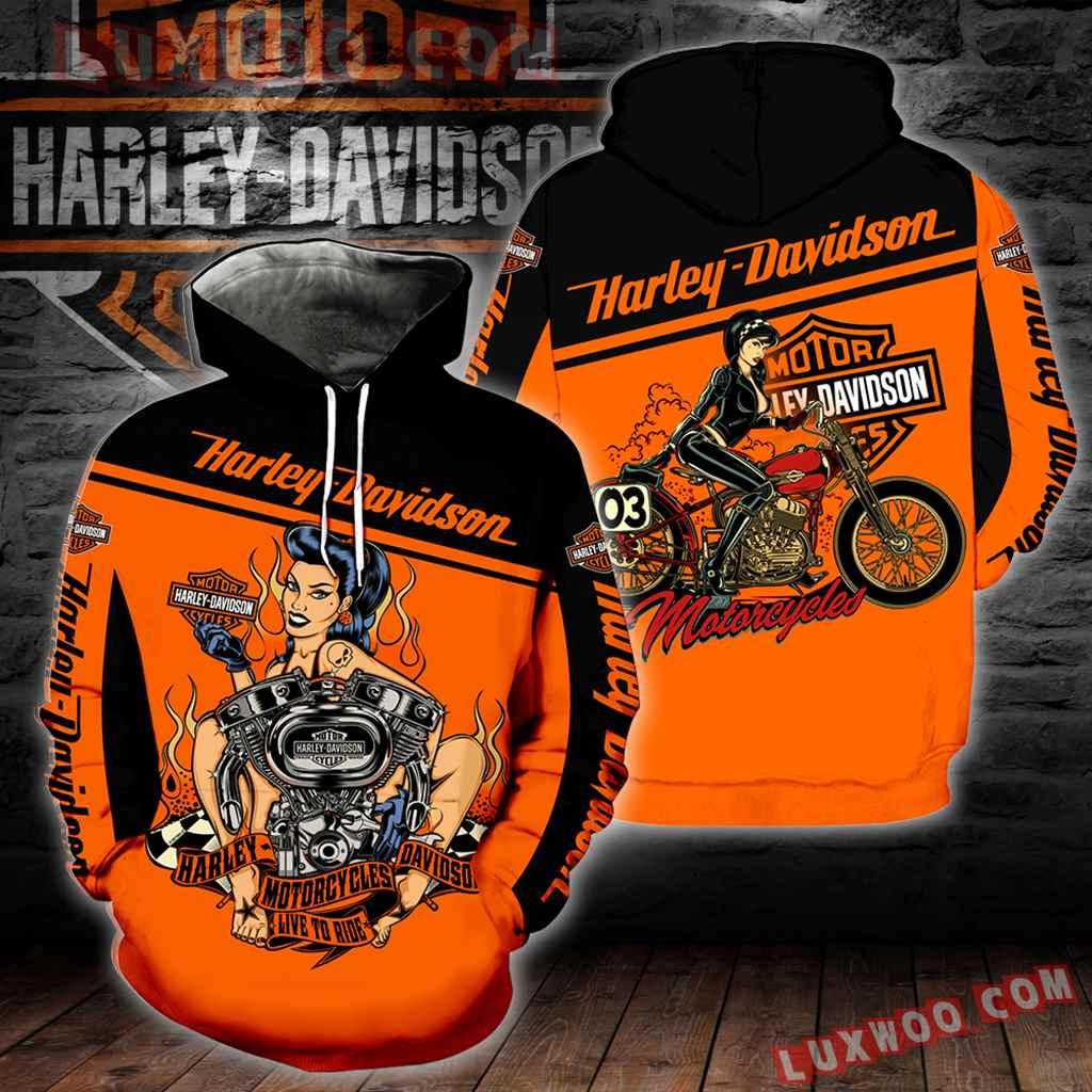 Harley Davidson Motorcycle Live To Ride 3d Hoodies Printed Zip Hoodies V1