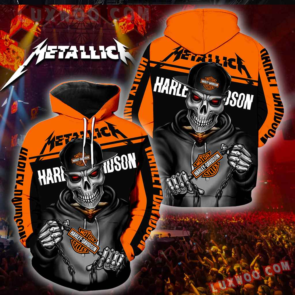 Harley Davidson Motorcycle Metallica 3d Hoodies Printed Zip Hoodies V1
