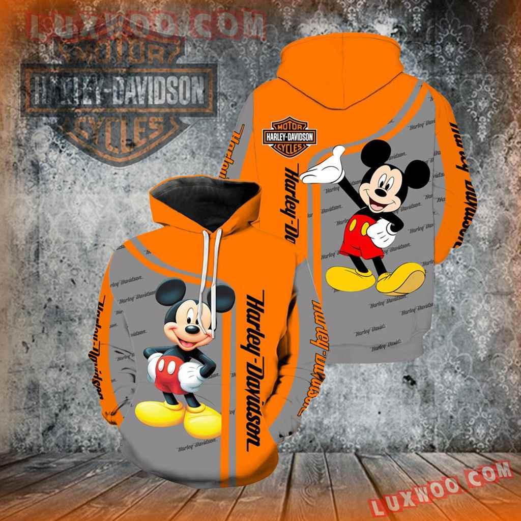 Harley Davidson Motorcycle Mickey Mouse 3d Hoodies Printed Zip Hoodies V1