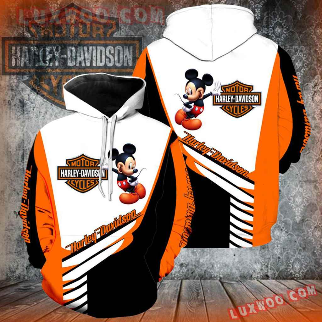 Harley Davidson Motorcycle Mickey Mouse 3d Hoodies Printed Zip Hoodies V2