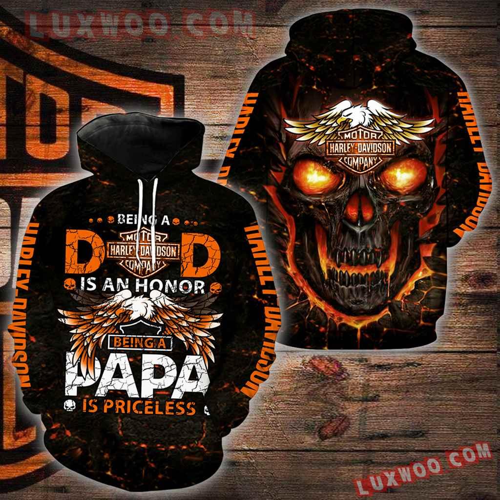 Harley Davidson Motorcycle Papa 3d Hoodies Printed Zip Hoodies V2