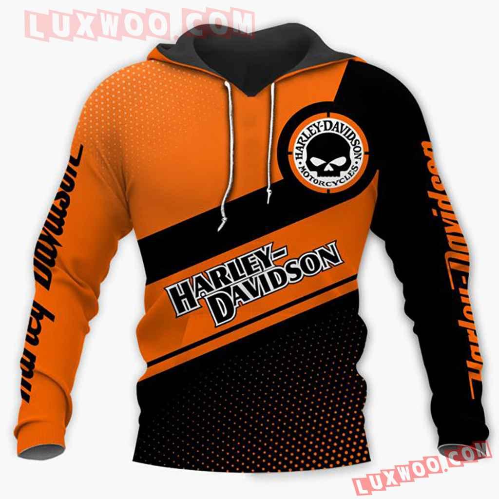 Harley Davidson Motorcycle Skull 3d Hoodies Printed Zip Hoodies V1