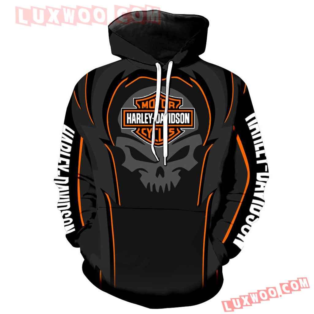 Harley Davidson Motorcycle Skull 3d Hoodies Printed Zip Hoodies V10