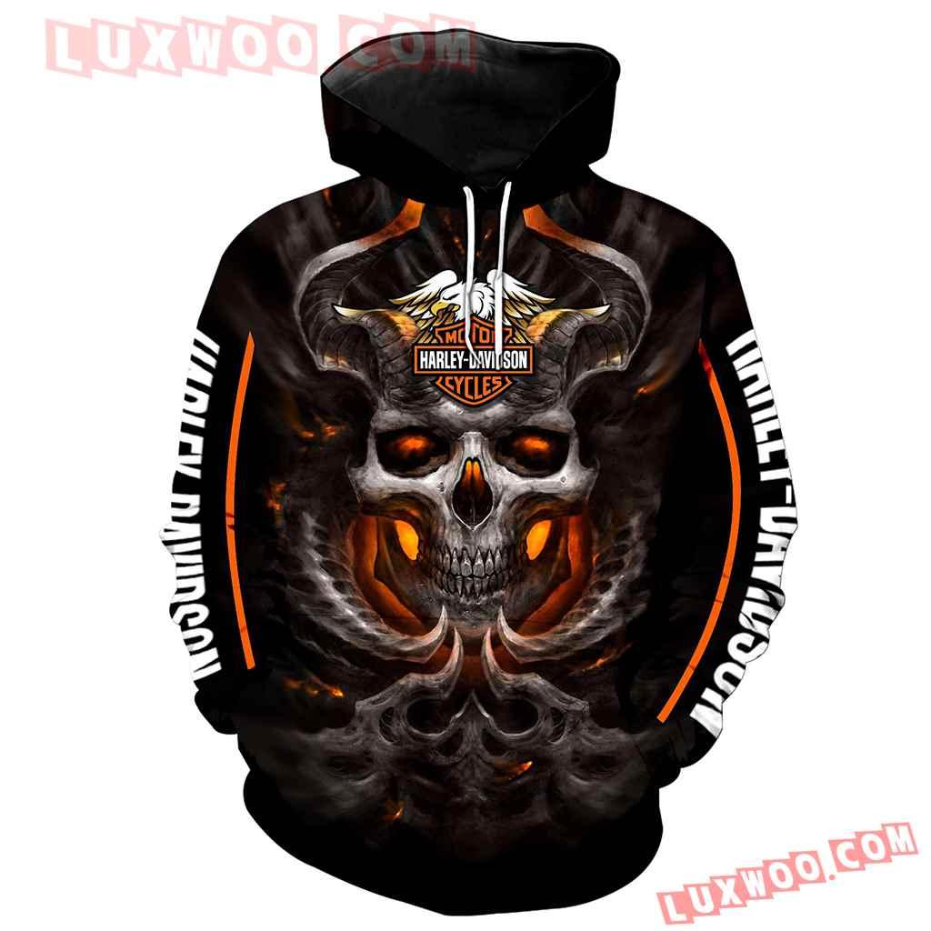 Harley Davidson Motorcycle Skull 3d Hoodies Printed Zip Hoodies V12