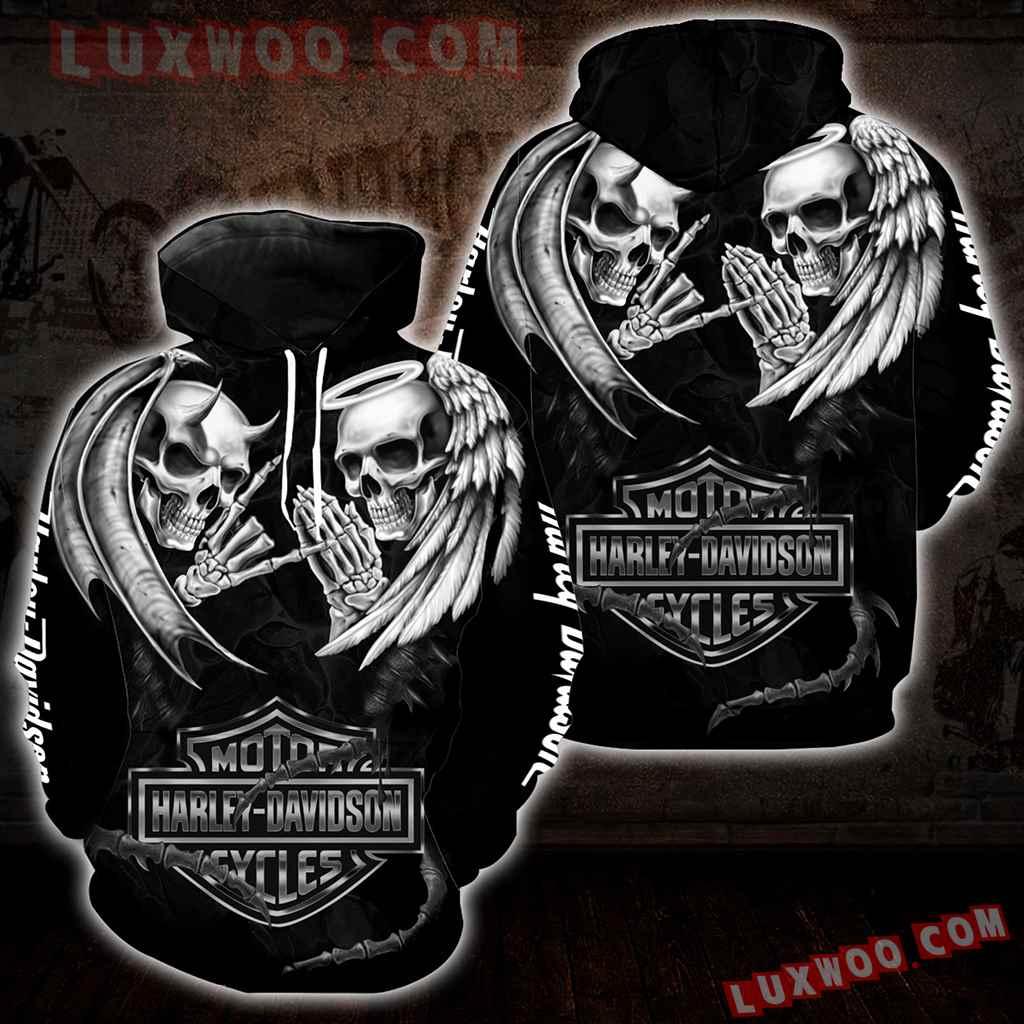 Harley Davidson Motorcycle Skull 3d Hoodies Printed Zip Hoodies V15