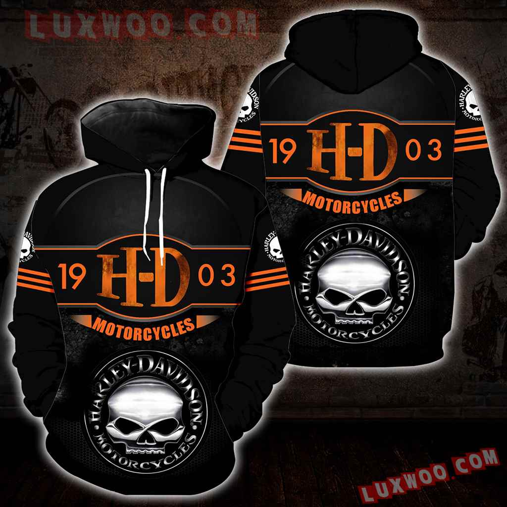 Harley Davidson Motorcycle Skull 3d Hoodies Printed Zip Hoodies V16
