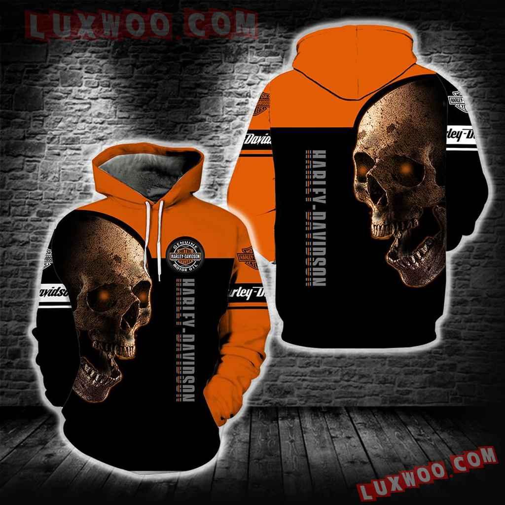 Harley Davidson Motorcycle Skull 3d Hoodies Printed Zip Hoodies V17