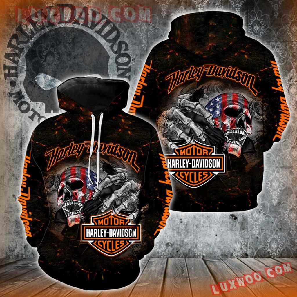 Harley Davidson Motorcycle Skull 3d Hoodies Printed Zip Hoodies V18