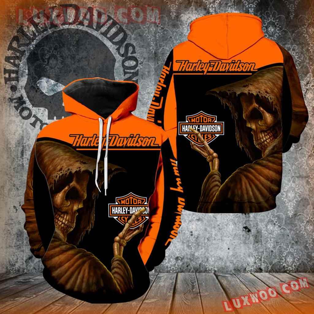 Harley Davidson Motorcycle Skull 3d Hoodies Printed Zip Hoodies V19